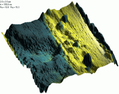 Joint image: Phase image as skin for 3D topography frame (blue - soft material, yellow - harder substarte). Tapping mode. Probes Mikromasch CSC12F. 2x2 um